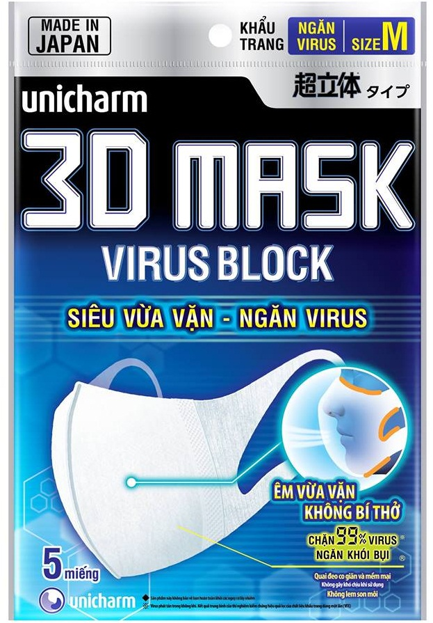 Khẩu trang 3D ngăn Virus Unicharm Mask Virus Block