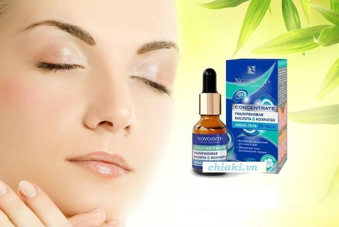 Serum Novosvit chứa thành phần đậm đặc collagen và axít hyaluronic giúp khắc phục tốt vấn đề thiếu độ ẩm của da