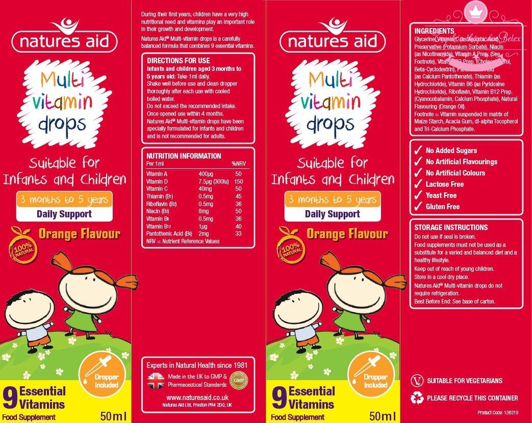 Vitamin Cho Bé Biếng Ăn Multi Vitamin Drop Natures Aid 50ml