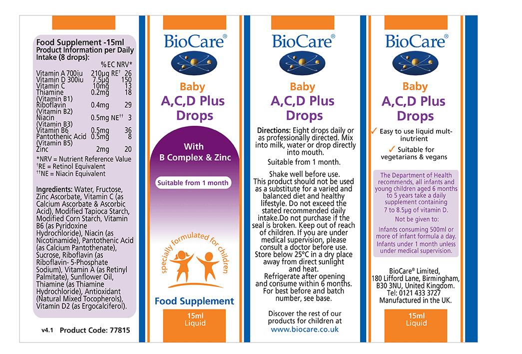 Nhãn sản phẩm Biocare Baby 15ml bổ sung Vitamin A, C, D Plus Drop