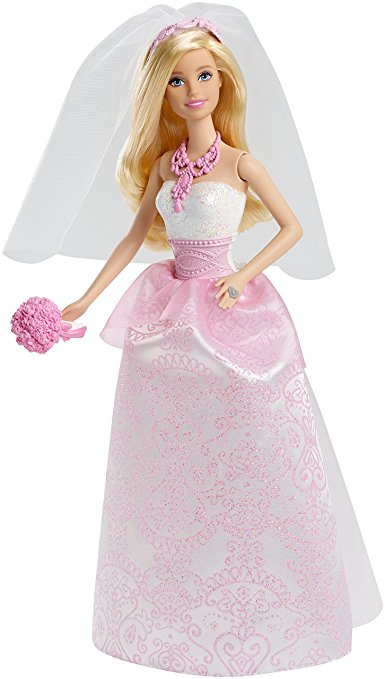 Búp bê Barbie cô dâu CFF37 trong bộ váy cưới hiện đại