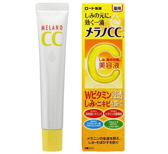 Serum CC Melano 20ml Nhật Bản chứa thành phần chính là vitamin C và vitamin E giúp trị thâm và dưỡng trắng hiệu quả