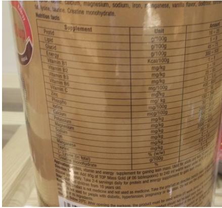 Thành phần chính có trong sữa Top Mass Gold