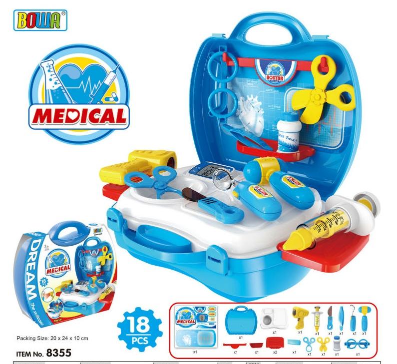 Bộ đồ chơi bác sỹ cho bé gồm 18 chi tiết dụng cụ và phụ kiện