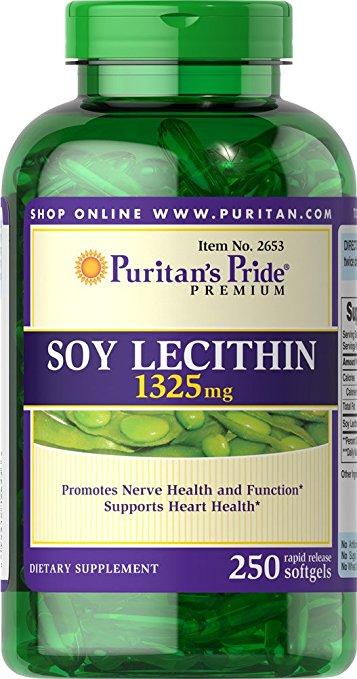 Viên uống tinh chất mầm Đậu Nành Soy Lecithin 1325 mg Puritan Pride hộp 250 viên