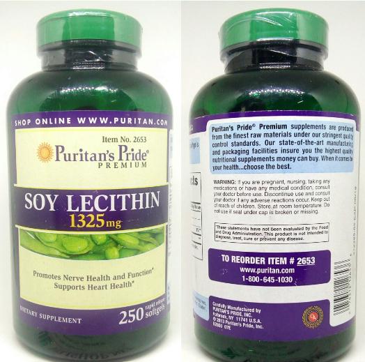 Nhãn sản phẩm Soy Lecithin 1325 mg Puritan Pride 1325mg
