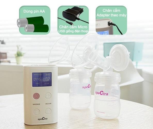 Bộ máy hút sữa Spectra 9S điện đôi đầy đủ