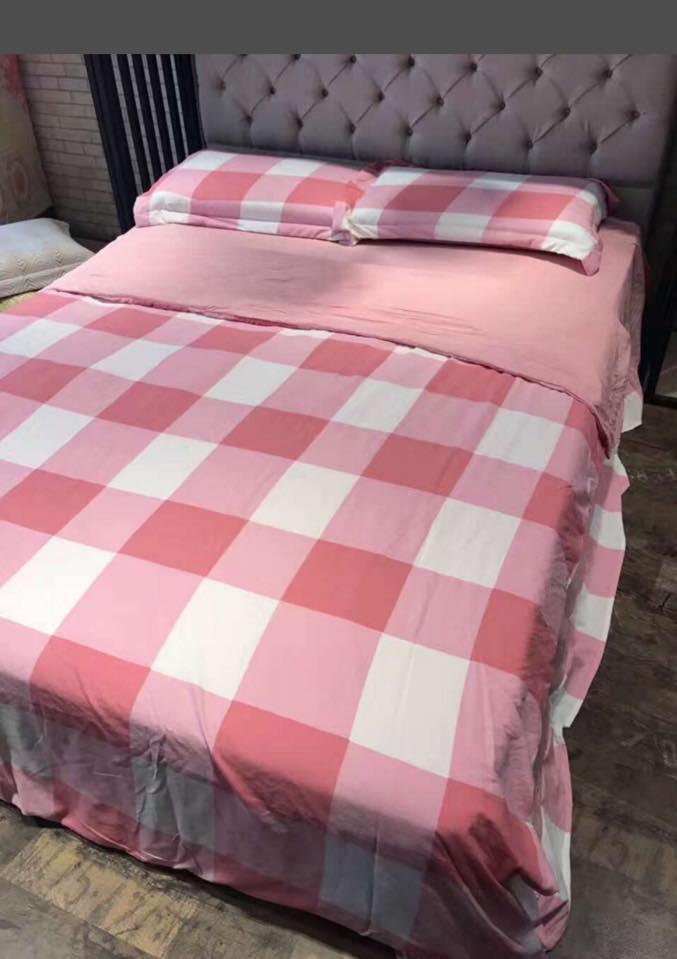 Bộ chăn, ga, gối Muji mã MJ06 màu hồng xinh xắn