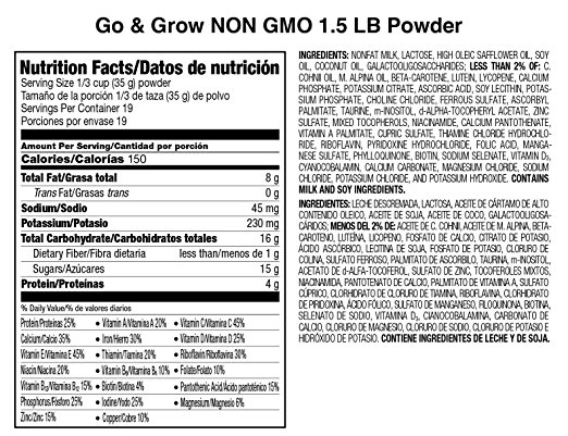 Thành phần sữa Similac Go & Grow NON GMO 680g cho bé 1-2 tuổi