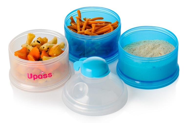 Hộp đựng sữa bột có nắp lật Upass UP8009N gồm 3 ngăn riêng biệt đựng thức ăn, sữa sạch sẽ, tiện dụng