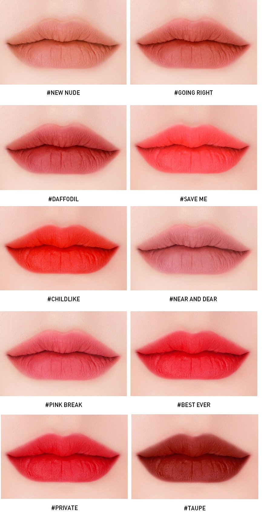Son kem lì 3CE Velvet Lip Tint với 10 màu son cực hot