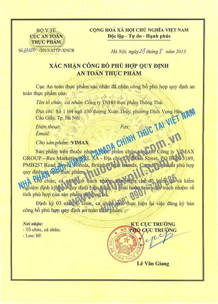 Giấy Phép VIMAX Do Bộ Y Tế Việt Nam Cấp