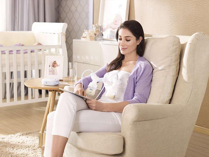 Máy hút sữa Avent điện đôi SCF334/02 giúp mẹ hút sữa thoải mái