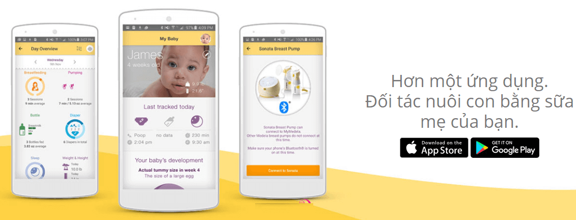 Máy hút sữa Medela Sonata có thể kết nối với Smartphone giúp kiểm soát quá trình hút sữa