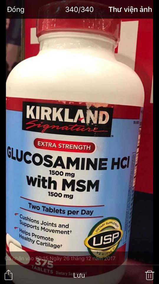 Glucosamine HCL 1500mg Kirkland With MSM 1500mg Hộp 375 Viên