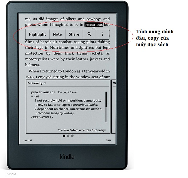 Máy đọc sách điện tử có các tính năng tiện ích của một thiết bị điện tử