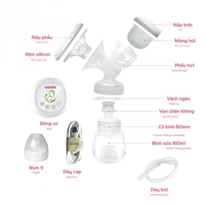 Máy hút sữa điện đôi Rozabi 12 cấp độ giá rẻ hà nội