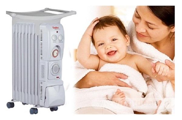 Máy sưởi dầu Saiko OR-5211T toả hơi ấm từ lớp dầu lỏng trong máy được đốt nóng, không gây khô da, an toàn cho sức khỏe của các thành viên trong gia đình