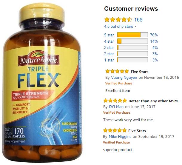 Viên uống bổ khớp Triplex Flex Nature Made 170 viên được người tiêu dùng đánh giá rất cao