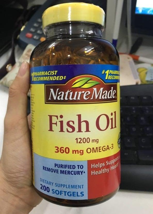 Dầu cá Nature Made Fish oil Omega 3 1200mg mẫu mới nhất 2018 vỏ trong