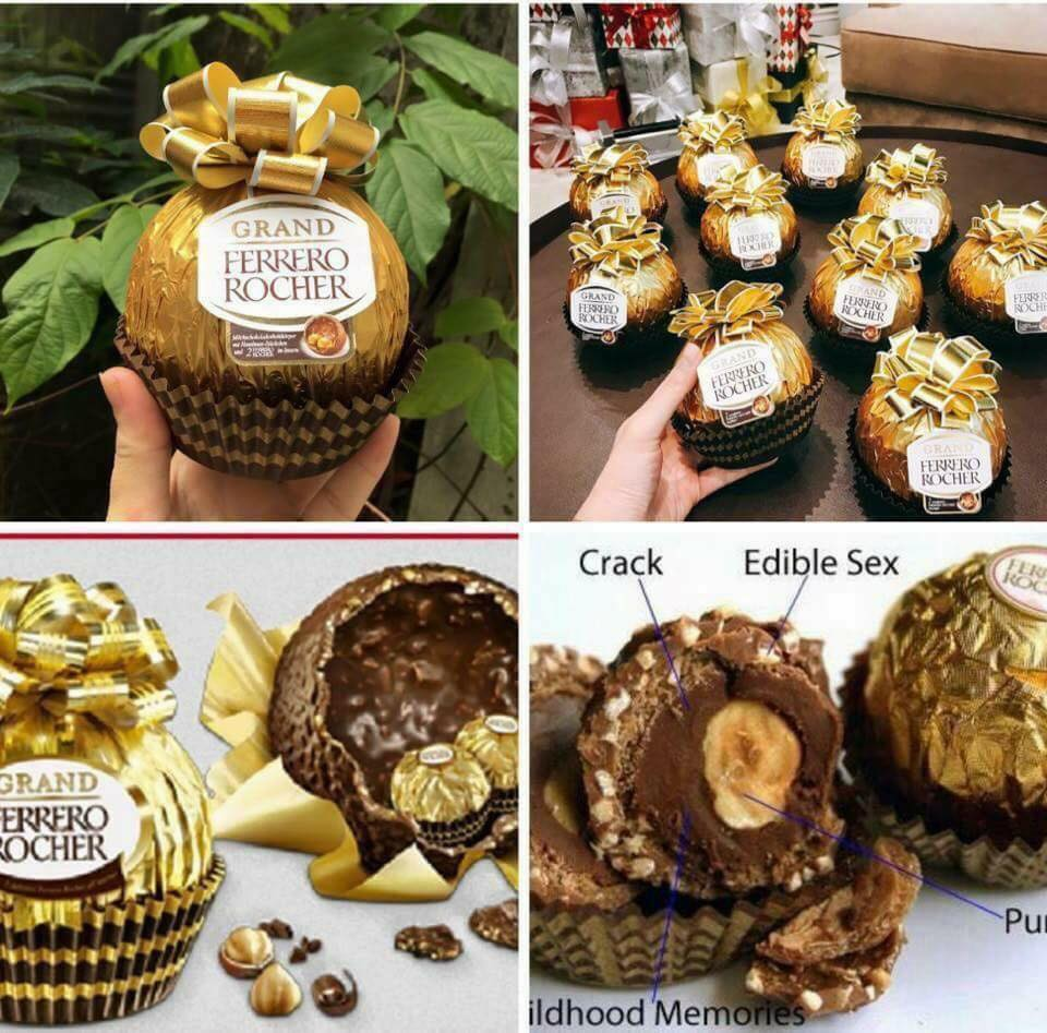 Socola Ferrero Rocher hình quả cầu vàng buộc nơ 125g 2