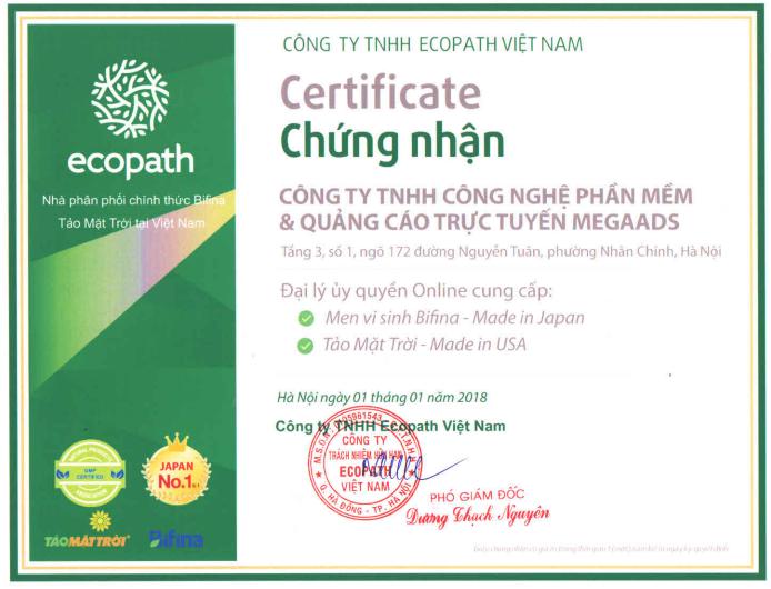 men vi sinh Bifina Nhật Bản chính hãng, có chứng nhận đại lý ủy quyền của công ty nhập khẩu