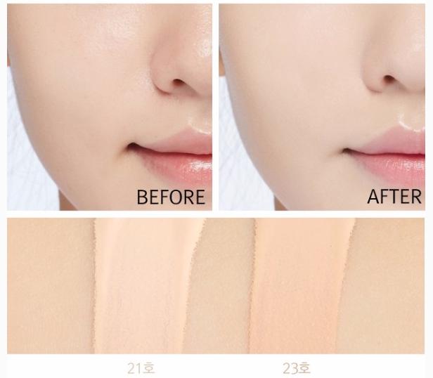 Trước và sau khi sử dụng phấn nước nền Missha M Magic Cushion