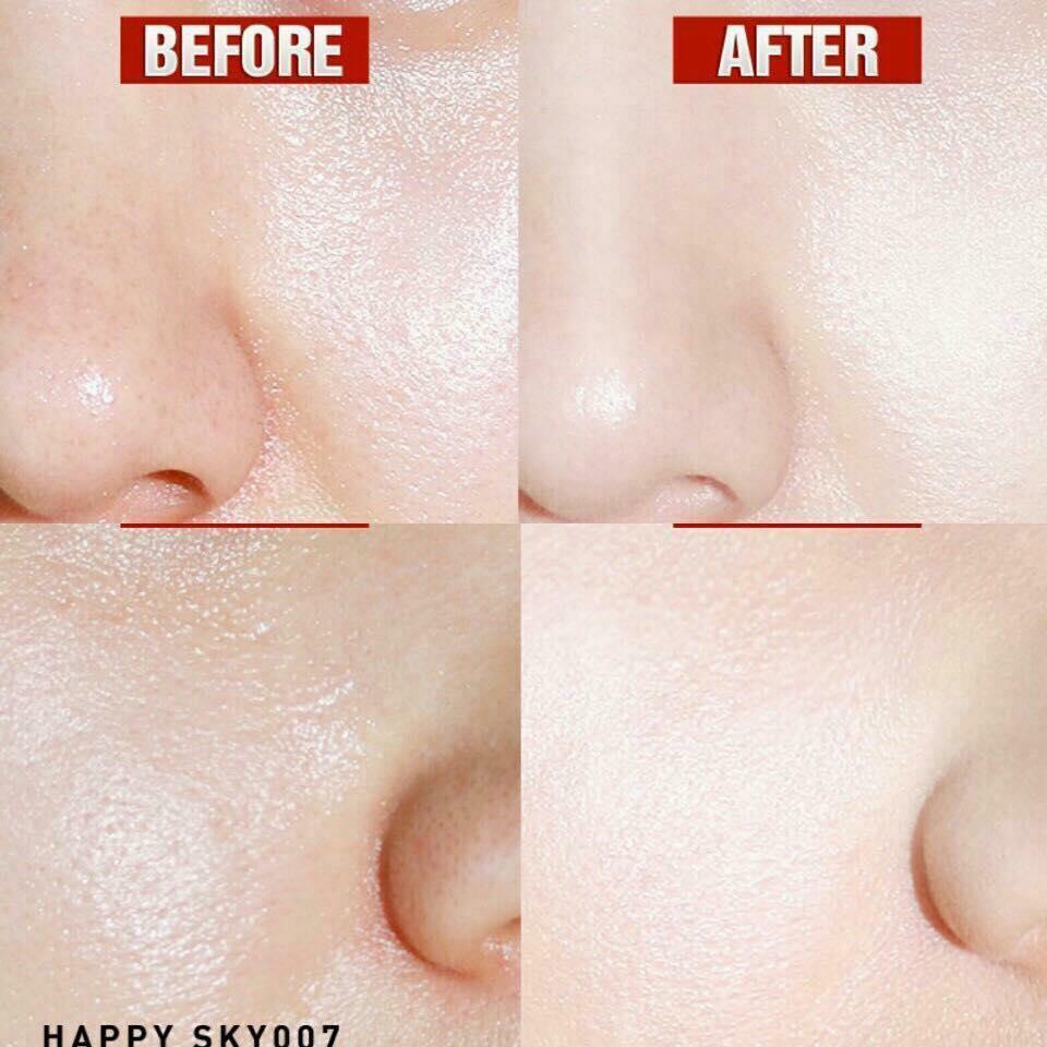 Trước và sau khi sử dungk Phấn phủ kiềm dầu Eglips Pore Blind Powder