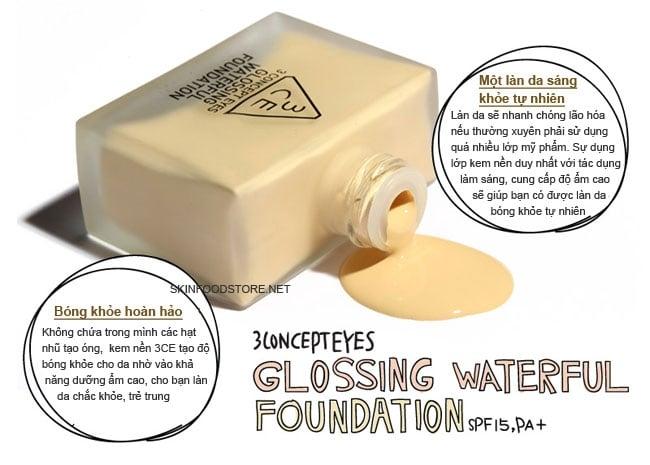 Kem nền Glossing Waterful Foundation 3ce 2