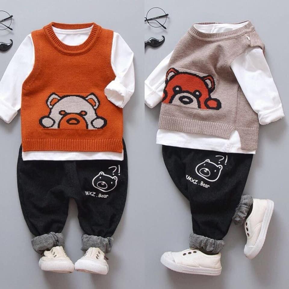 Set áo len 3 chi tiết cho bé trai từ 9 - 15kg 2