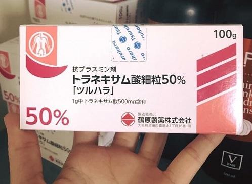 Bột uống trắng da trị nám Tranexamic Acid 50% Tsuruhara 1