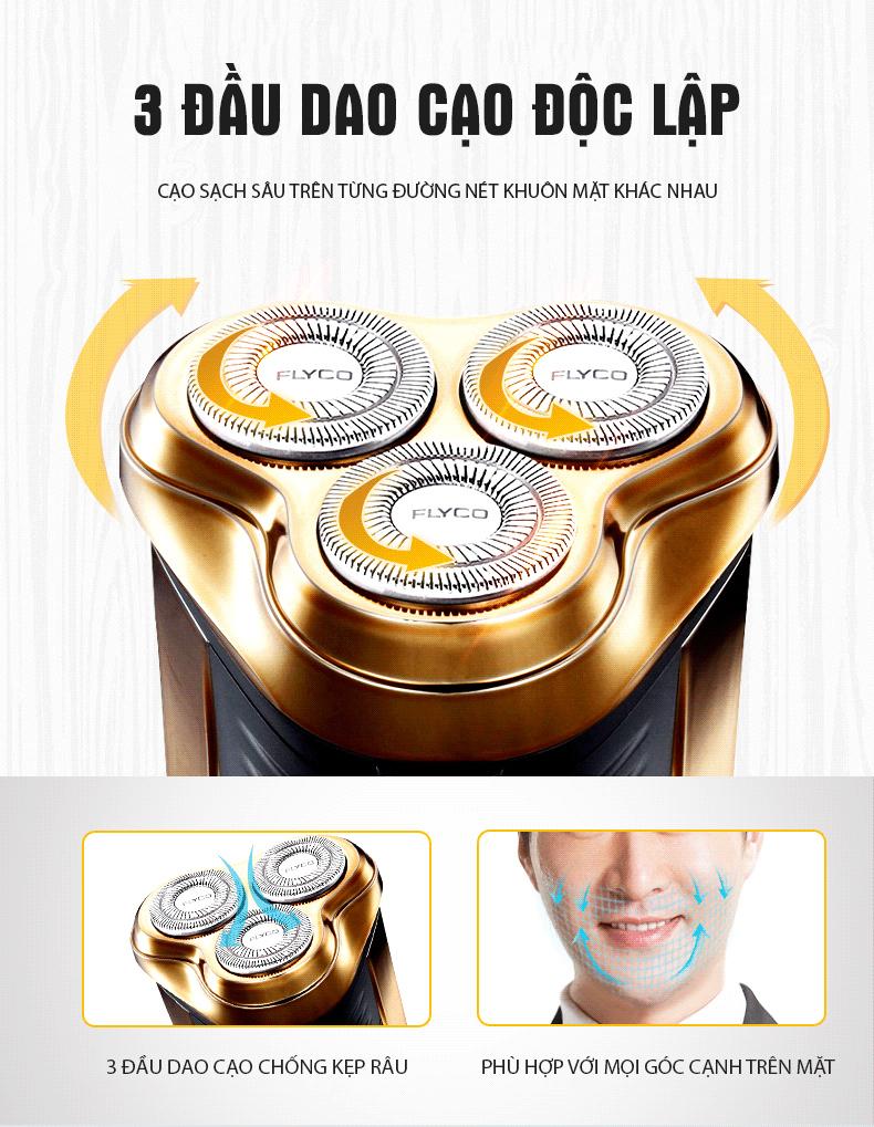 Máy cạo râu Flyco FS360 có 3 đầu cạo độc lập