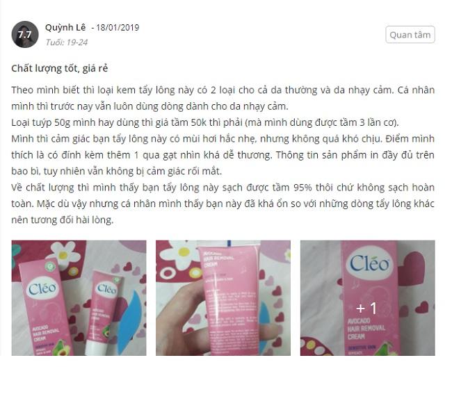 Phản hồi từ phía khách hàng sử dụng kem tẩy lông Cleo màu hồng