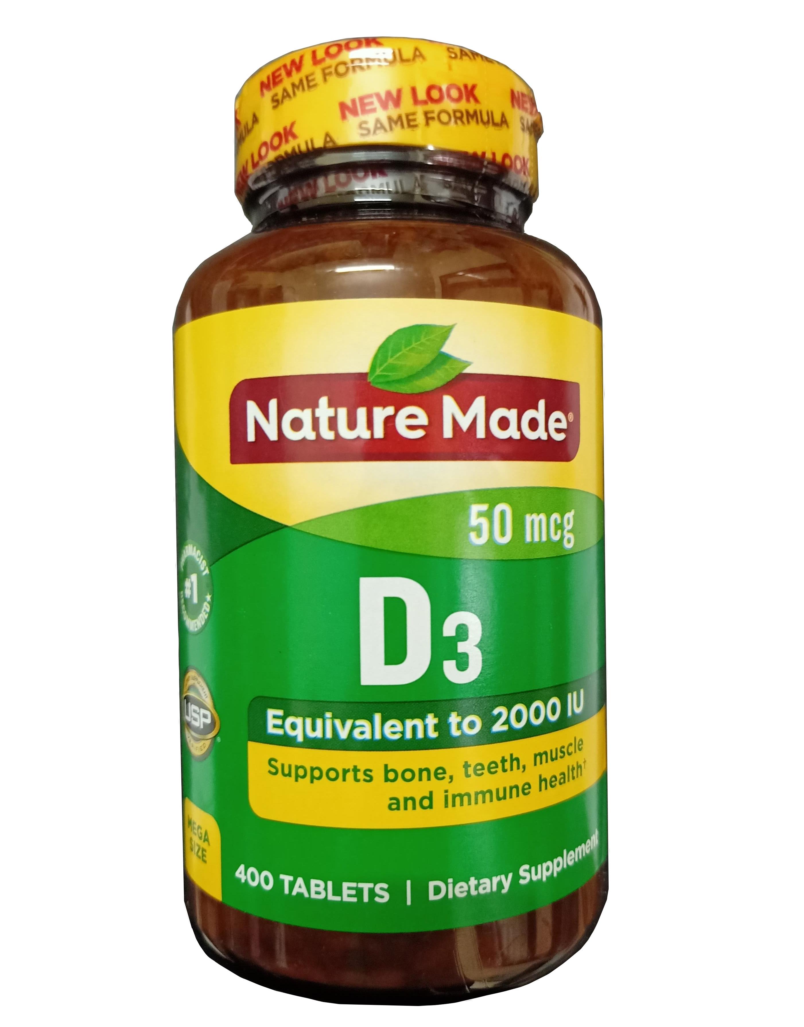 Viên uống Vitamin D3 Nature Made 50 mcg 2000 IU (mẫu mới nhất 2019)