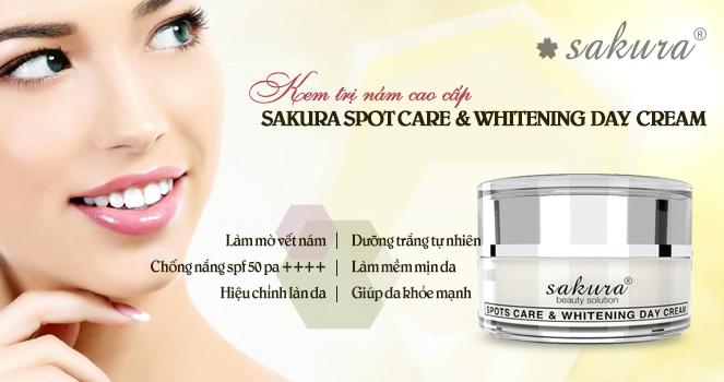 kem trị nám Sakura ban ngày Spot Care & Whitening Day Cream