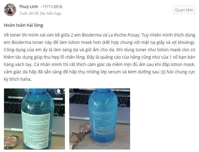 Phản hồi từ phía khách hàng sử dụng nước hoa hồng không cồn Bioderma