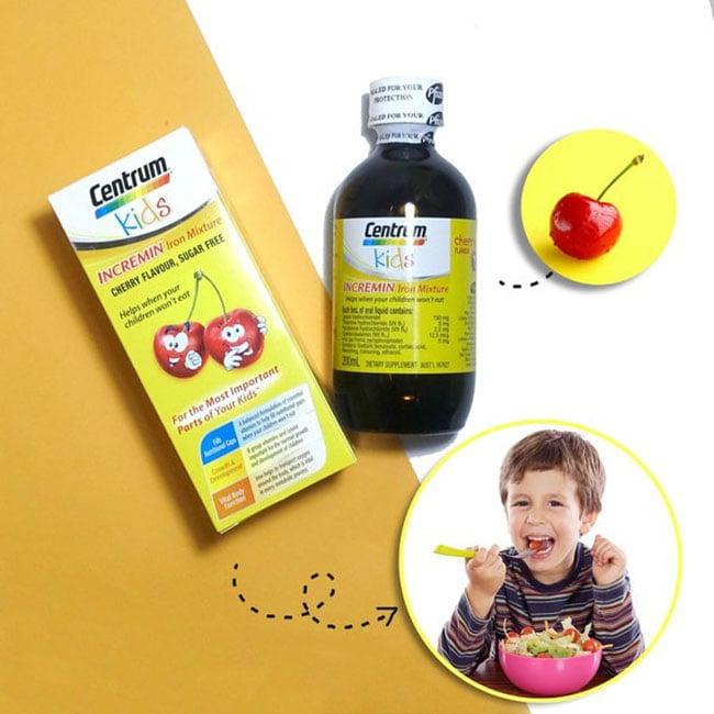 vitamin tổng hợp cho bé biếng ăn Centrum Kids Incremin Iron Mixture