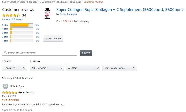 Phản hồi từ phía khách hàng sử dụng NeoCell Super Collagen +C 1