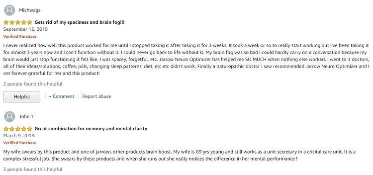 Phản hồi từ phía khách hàng sử dụng Jarrow Neuro Optimizer 1