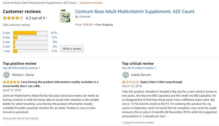Phản hồi từ phía khách hàng sử dụng Centrum adults 2