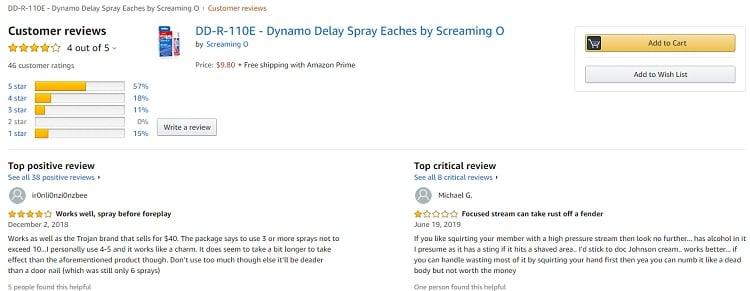 Phản hồi từ phía khách hàng sử dụng Chai xịt kéo dài thời gian quan hệ Dynamo Delay 3