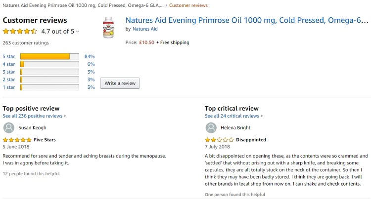 Phản hồi từ phía khách hàng sử dụng Natures Aid Evening Primrose Oil 3