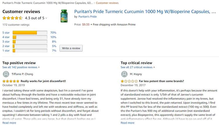 Phản hồi từ phía khách hàng sử dụng Tinh chất nghệ Curcumin Puritan's Pride 1000mg (3)