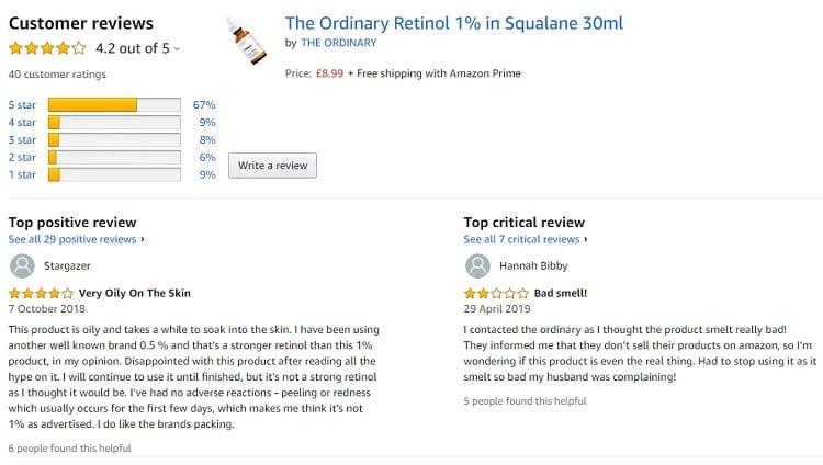Phản hồi từ phía khách hàng sử dụng Serum The Ordinary Retinol 1% in Squalane 2
