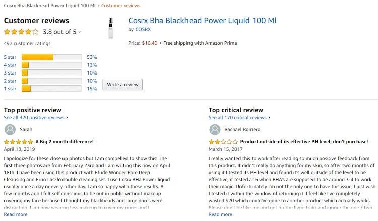 Phản hồi từ phía khách hàng sử dụng BHA Blackhead Power Liquid 3