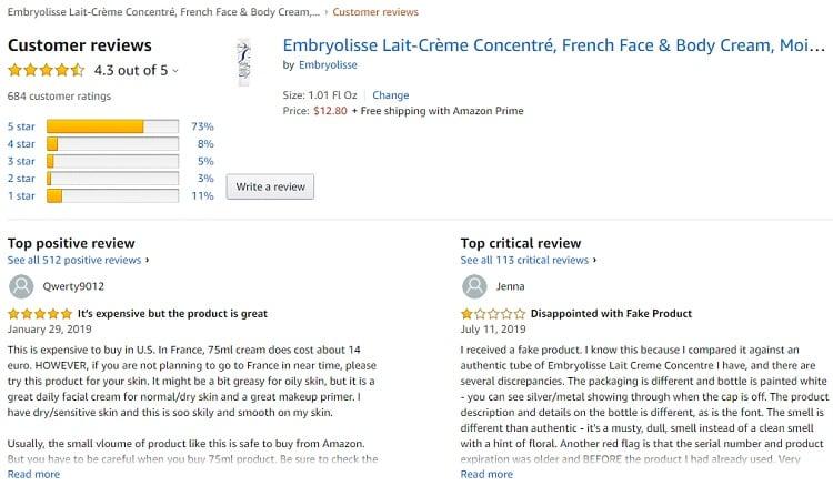 Phản hồi từ phía khách hàng sử dụng Kem dưỡng ẩm Embryolisse Lait – Crème Concentre 3