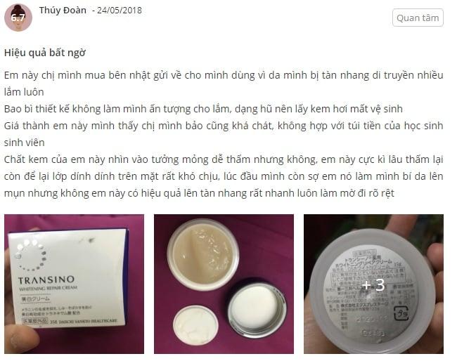 Phản hồi từ phía khách hàng sử dụng kem dưỡng trắng da Transino Whitening Repair Cream 1