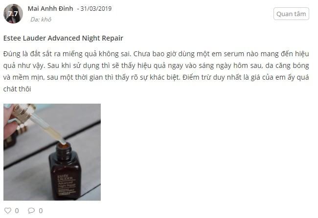 Phản hồi từ phía khách hàng sử dụng Serum Estee Lauder Advanced Night Repair 2