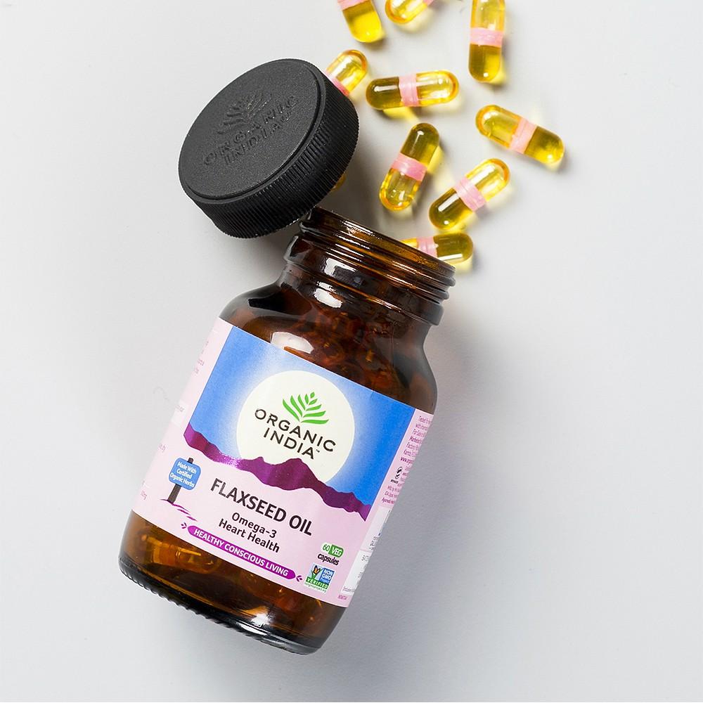 Viên uống Flaxseed Oil Organic India hỗ trợ tăng cường Omegae 3