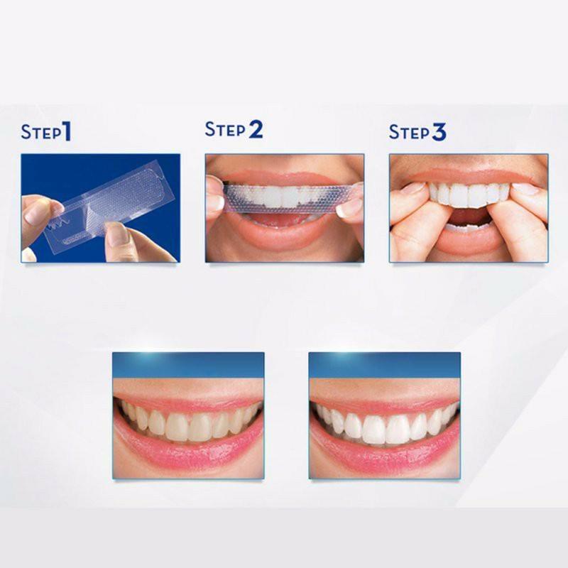 Hướng dẫn sử dụng miếng dán trắng răng 3D White Teeth Whitening Strip